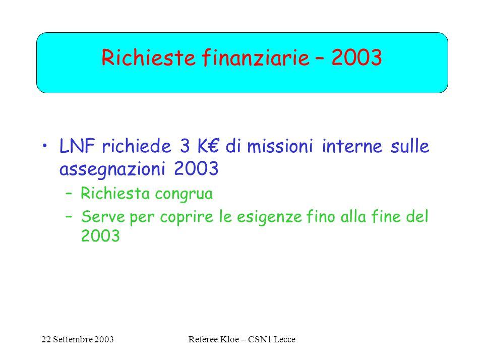 22 Settembre 2003Referee Kloe – CSN1 Lecce Richieste finanziarie – 2003 LNF richiede 3 K€ di missioni interne sulle assegnazioni 2003 –Richiesta congrua –Serve per coprire le esigenze fino alla fine del 2003
