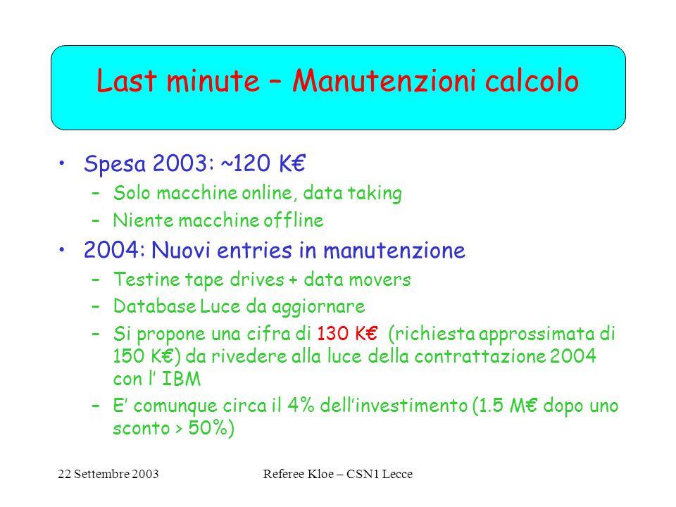 22 Settembre 2003Referee Kloe – CSN1 Lecce Last minute – Manutenzioni calcolo Spesa 2003: ~120 K€ –Solo macchine online, data taking –Niente macchine offline 2004: Nuovi entries in manutenzione –Testine tape drives + data movers –Database Luce da aggiornare –Si propone una cifra di 130 K€ (richiesta approssimata di 150 K€) da rivedere alla luce della contrattazione 2004 con l' IBM –E' comunque circa il 4% dell'investimento (1.5 M€ dopo uno sconto > 50%)
