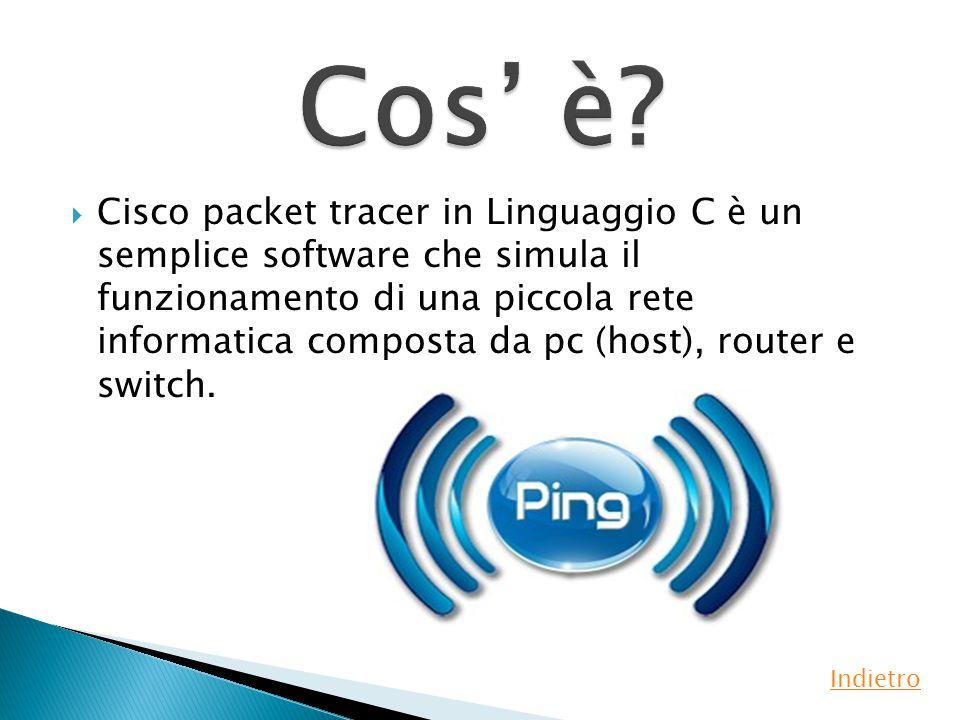  Cisco packet tracer in Linguaggio C è un semplice software che simula il funzionamento di una piccola rete informatica composta da pc (host), router e switch.