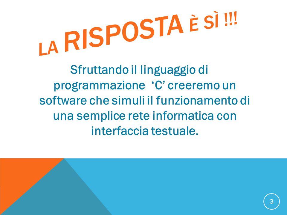 LA RISPOSTA È SÌ !!! Sfruttando il linguaggio di programmazione 'C' creeremo un software che simuli il funzionamento di una semplice rete informatica
