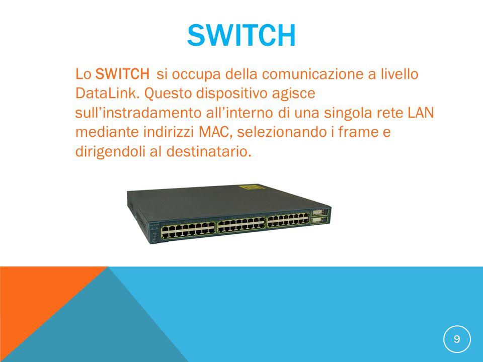 SWITCH 9 Lo SWITCH si occupa della comunicazione a livello DataLink. Questo dispositivo agisce sull'instradamento all'interno di una singola rete LAN