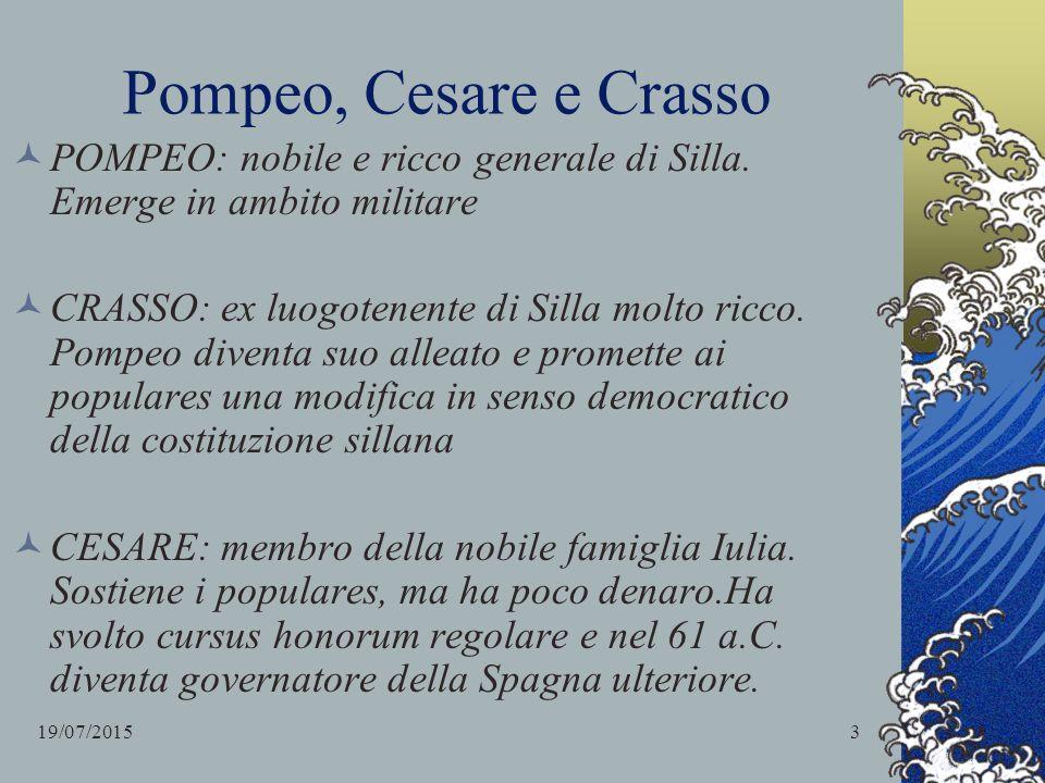 Pompeo, Cesare e Crasso POMPEO: nobile e ricco generale di Silla. Emerge in ambito militare CRASSO: ex luogotenente di Silla molto ricco. Pompeo diven