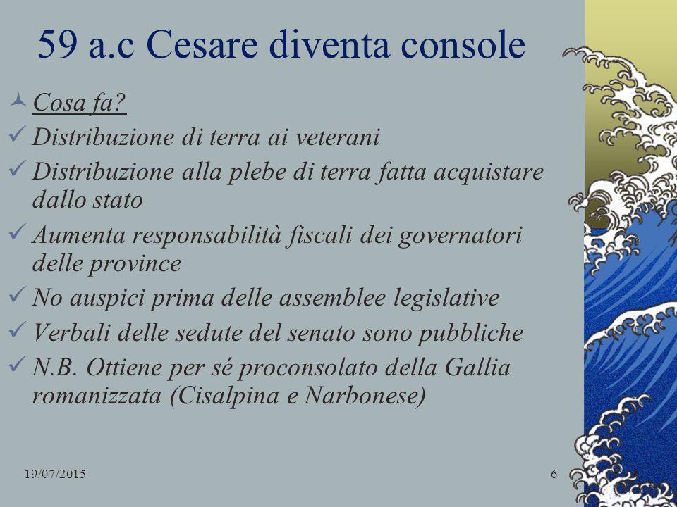 Guerra gallica (58-52 a.c) Cesare desidera conquistare la restante Gallia Transalpina: finge di aiutare i Galli Edui minacciati da Elvezi, popolazione della Svizzera occidentale.