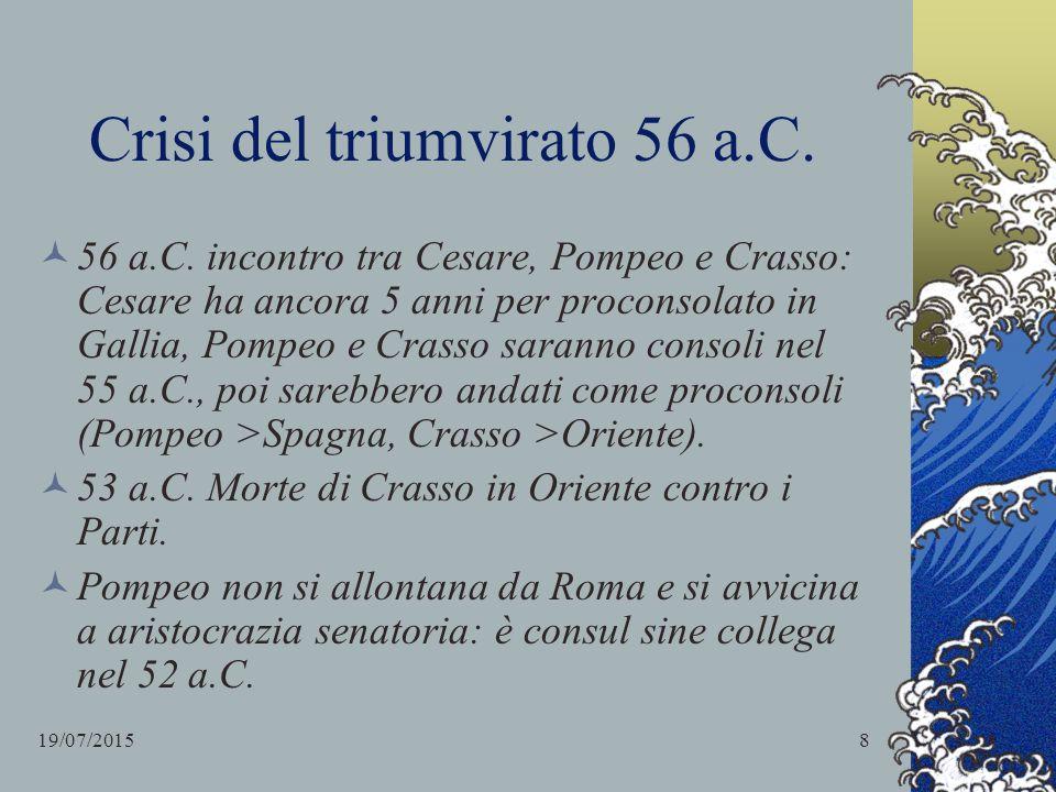 Crisi del triumvirato 56 a.C. 56 a.C. incontro tra Cesare, Pompeo e Crasso: Cesare ha ancora 5 anni per proconsolato in Gallia, Pompeo e Crasso sarann