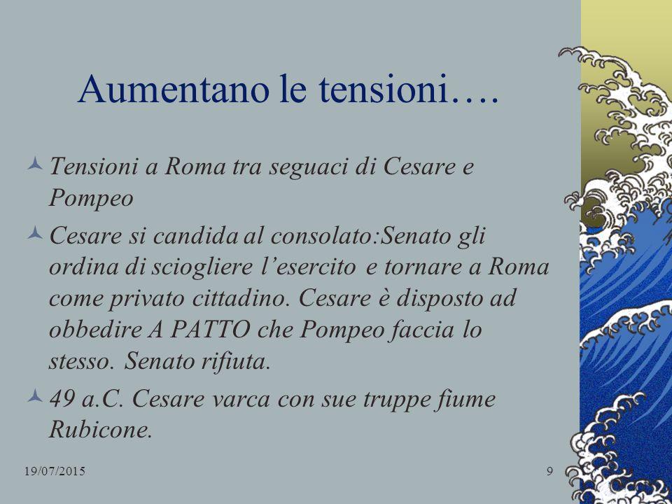 Aumentano le tensioni…. Tensioni a Roma tra seguaci di Cesare e Pompeo Cesare si candida al consolato:Senato gli ordina di sciogliere l'esercito e tor