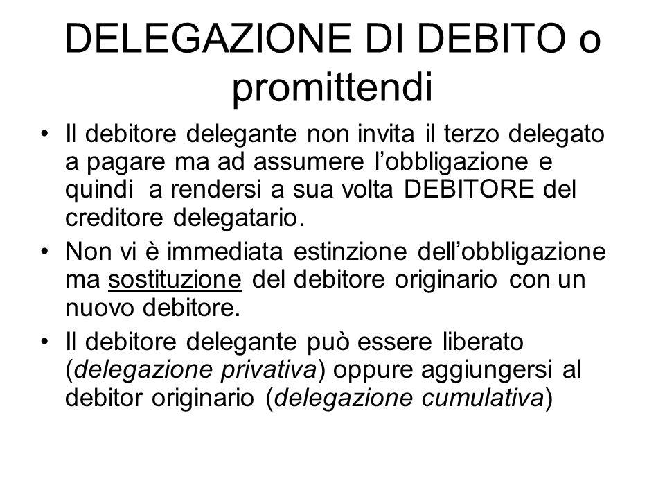 DELEGAZIONE DI DEBITO o promittendi Il debitore delegante non invita il terzo delegato a pagare ma ad assumere l'obbligazione e quindi a rendersi a su