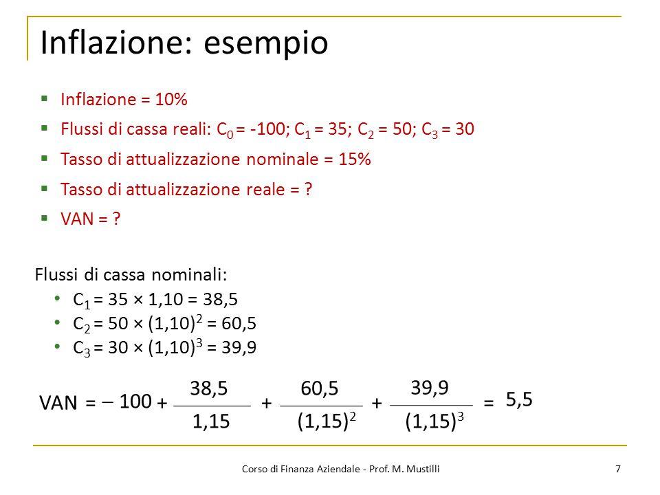 Inflazione: esempio 7Corso di Finanza Aziendale - Prof. M. Mustilli  Inflazione = 10%  Flussi di cassa reali: C 0 = -100; C 1 = 35; C 2 = 50; C 3 =