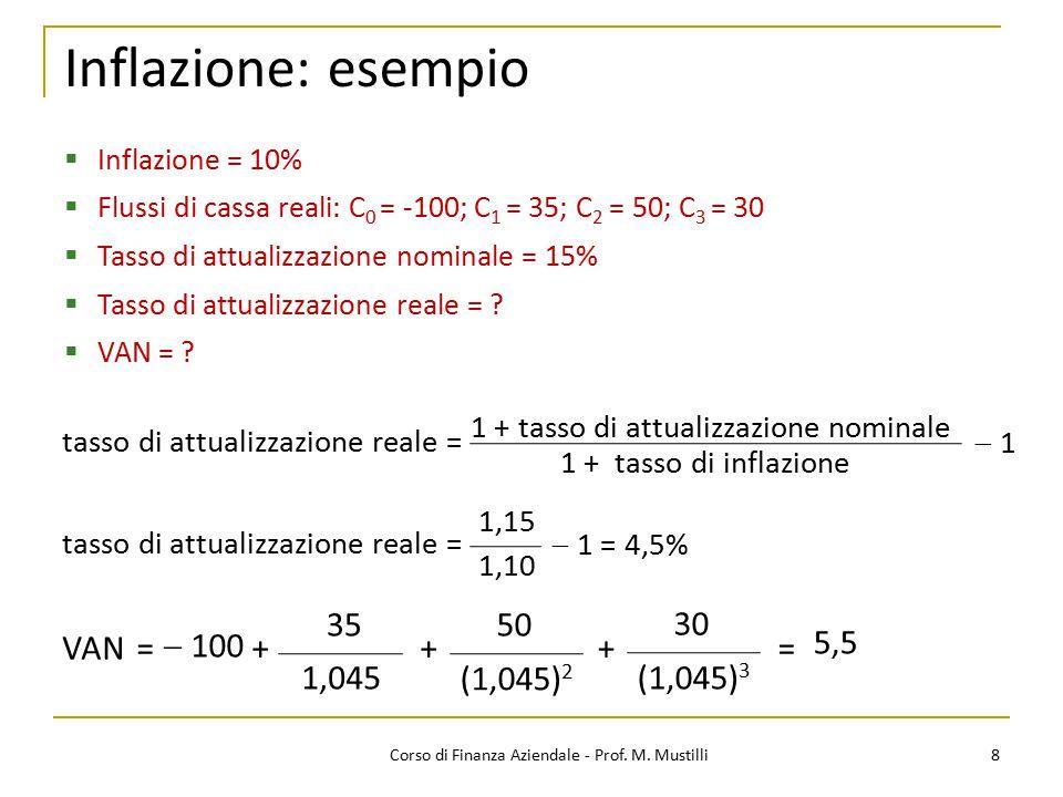 Inflazione: esempio 8Corso di Finanza Aziendale - Prof. M. Mustilli  Inflazione = 10%  Flussi di cassa reali: C 0 = -100; C 1 = 35; C 2 = 50; C 3 =