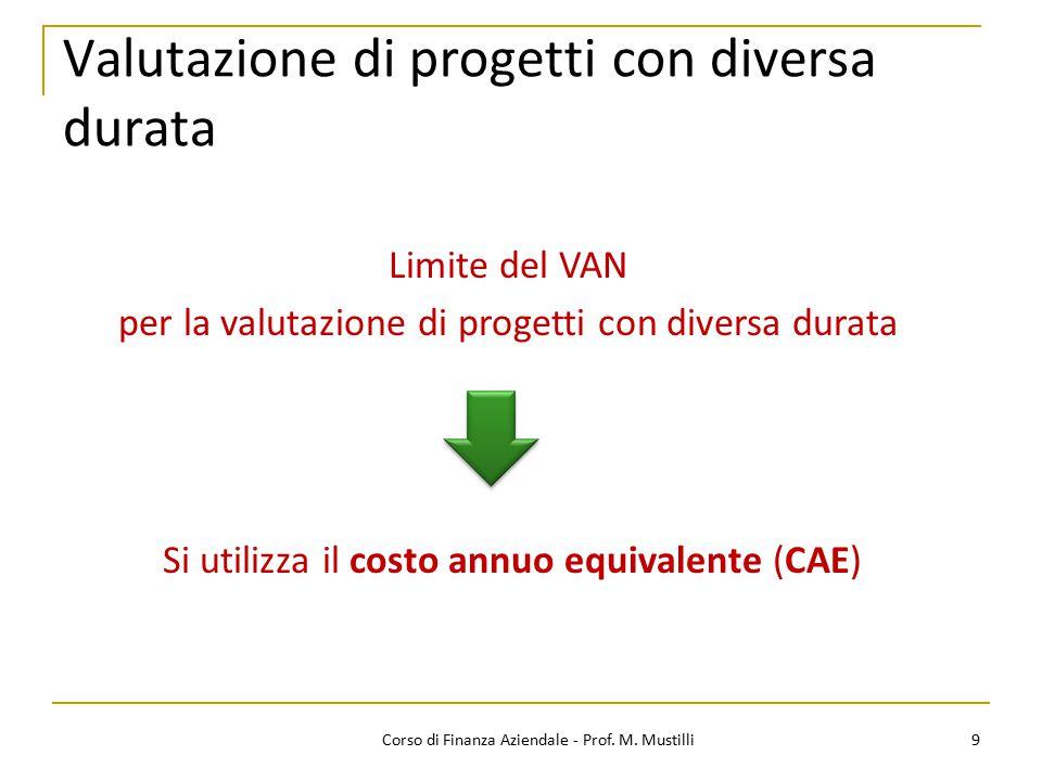9Corso di Finanza Aziendale - Prof. M. Mustilli Valutazione di progetti con diversa durata Limite del VAN per la valutazione di progetti con diversa d