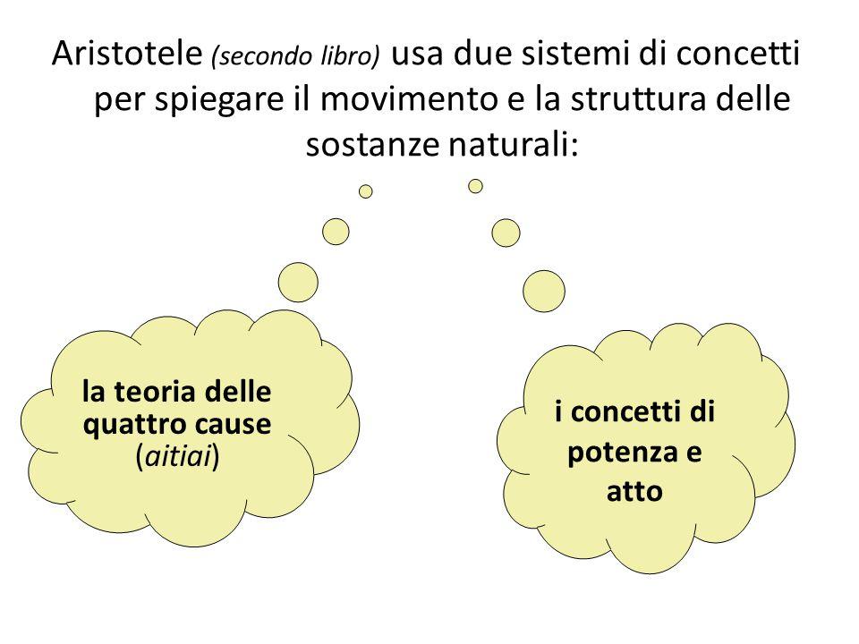 Aristotele (secondo libro) usa due sistemi di concetti per spiegare il movimento e la struttura delle sostanze naturali: la teoria delle quattro cause