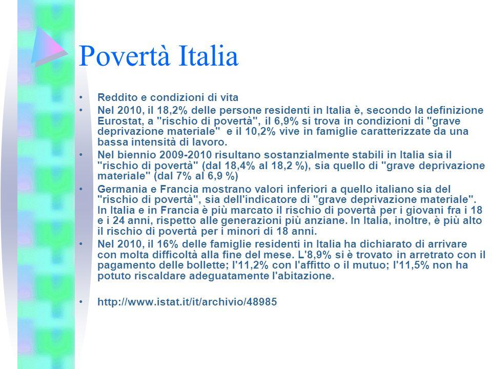 Povertà Italia Reddito e condizioni di vita Nel 2010, il 18,2% delle persone residenti in Italia è, secondo la definizione Eurostat, a rischio di povertà , il 6,9% si trova in condizioni di grave deprivazione materiale e il 10,2% vive in famiglie caratterizzate da una bassa intensità di lavoro.