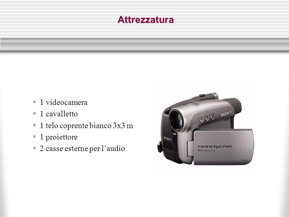 Attrezzatura  1 videocamera  1 cavalletto  1 telo coprente bianco 3x3 m  1 proiettore  2 casse esterne per l'audio