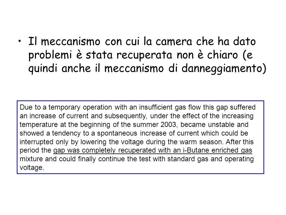 Due to a temporary operation with an insufficient gas flow this gap suffered an increase of current and subsequently, under the effect of the increasi