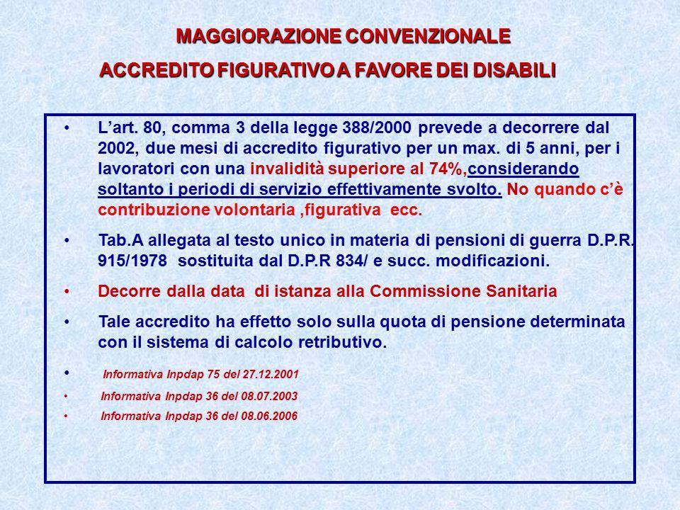 MAGGIORAZIONE CONVENZIONALE ACCREDITO FIGURATIVO A FAVORE DEI DISABILI L'art. 80, comma 3 della legge 388/2000 prevede a decorrere dal 2002, due mesi