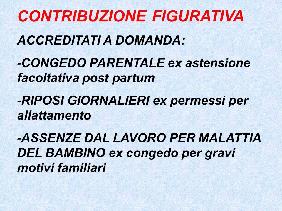 CONTRIBUZIONE FIGURATIVA ACCREDITATI A DOMANDA: -CONGEDO PARENTALE ex astensione facoltativa post partum -RIPOSI GIORNALIERI ex permessi per allattame