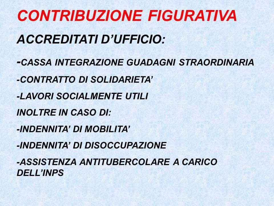 CONTRIBUZIONE FIGURATIVA ACCREDITATI D'UFFICIO: - CASSA INTEGRAZIONE GUADAGNI STRAORDINARIA -CONTRATTO DI SOLIDARIETA' -LAVORI SOCIALMENTE UTILI INOLTRE IN CASO DI: -INDENNITA' DI MOBILITA' -INDENNITA' DI DISOCCUPAZIONE -ASSISTENZA ANTITUBERCOLARE A CARICO DELL'INPS