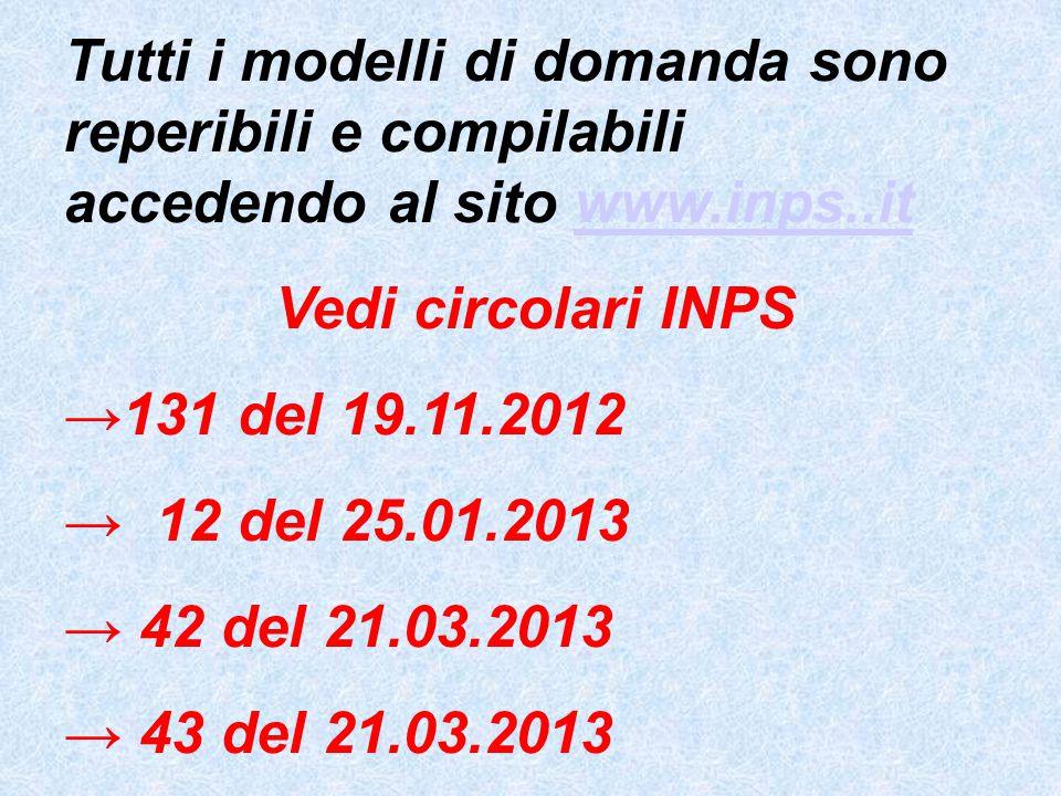 Tutti i modelli di domanda sono reperibili e compilabili accedendo al sito www.inps..itwww.inps..it Vedi circolari INPS →131 del 19.11.2012 → 12 del 25.01.2013 → 42 del 21.03.2013 → 43 del 21.03.2013