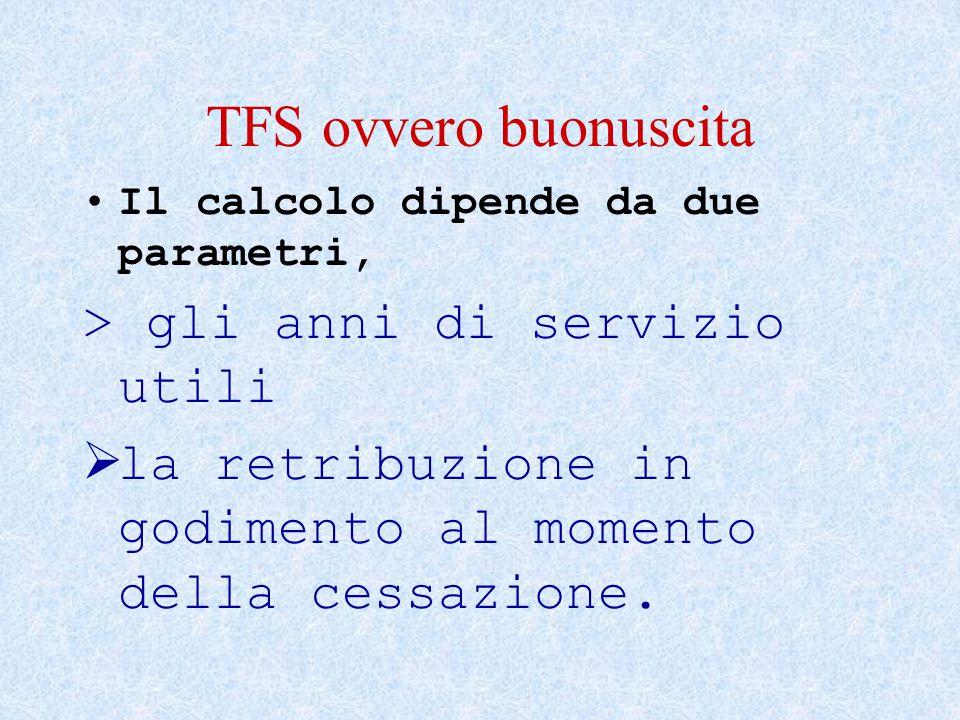 TFS ovvero buonuscita Il calcolo dipende da due parametri, > gli anni di servizio utili  la retribuzione in godimento al momento della cessazione.