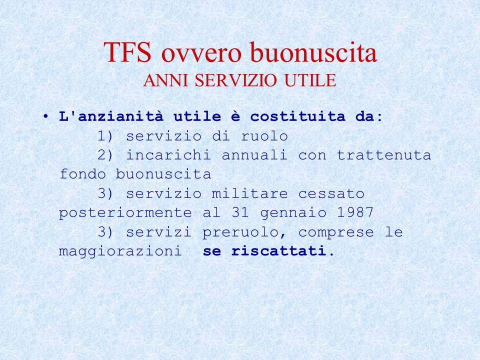 TFS ovvero buonuscita ANNI SERVIZIO UTILE L'anzianità utile è costituita da: 1) servizio di ruolo 2) incarichi annuali con trattenuta fondo buonuscita