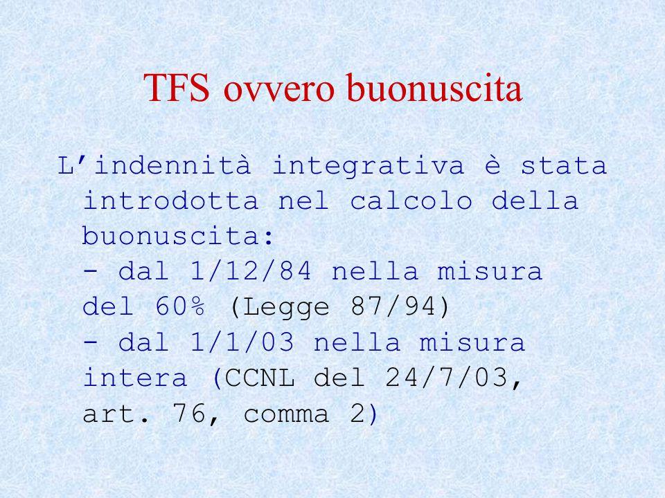 TFS ovvero buonuscita L'indennità integrativa è stata introdotta nel calcolo della buonuscita: - dal 1/12/84 nella misura del 60% (Legge 87/94) - dal 1/1/03 nella misura intera (CCNL del 24/7/03, art.