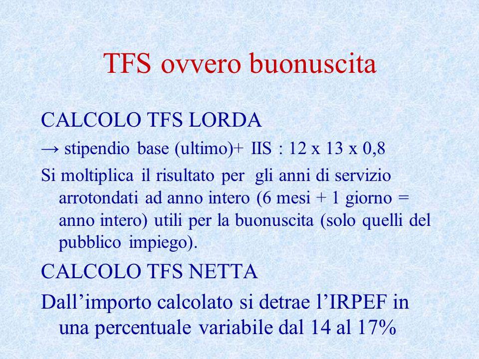 TFS ovvero buonuscita CALCOLO TFS LORDA → stipendio base (ultimo)+ IIS : 12 x 13 x 0,8 Si moltiplica il risultato per gli anni di servizio arrotondati ad anno intero (6 mesi + 1 giorno = anno intero) utili per la buonuscita (solo quelli del pubblico impiego).