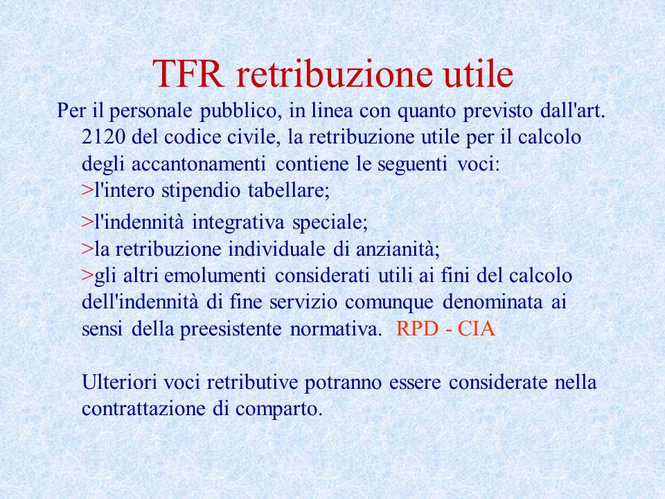 TFR retribuzione utile Per il personale pubblico, in linea con quanto previsto dall'art. 2120 del codice civile, la retribuzione utile per il calcolo