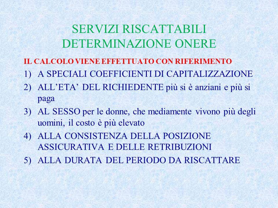 SERVIZI RISCATTABILI DETERMINAZIONE ONERE IL CALCOLO VIENE EFFETTUATO CON RIFERIMENTO 1)A SPECIALI COEFFICIENTI DI CAPITALIZZAZIONE 2)ALL'ETA' DEL RIC
