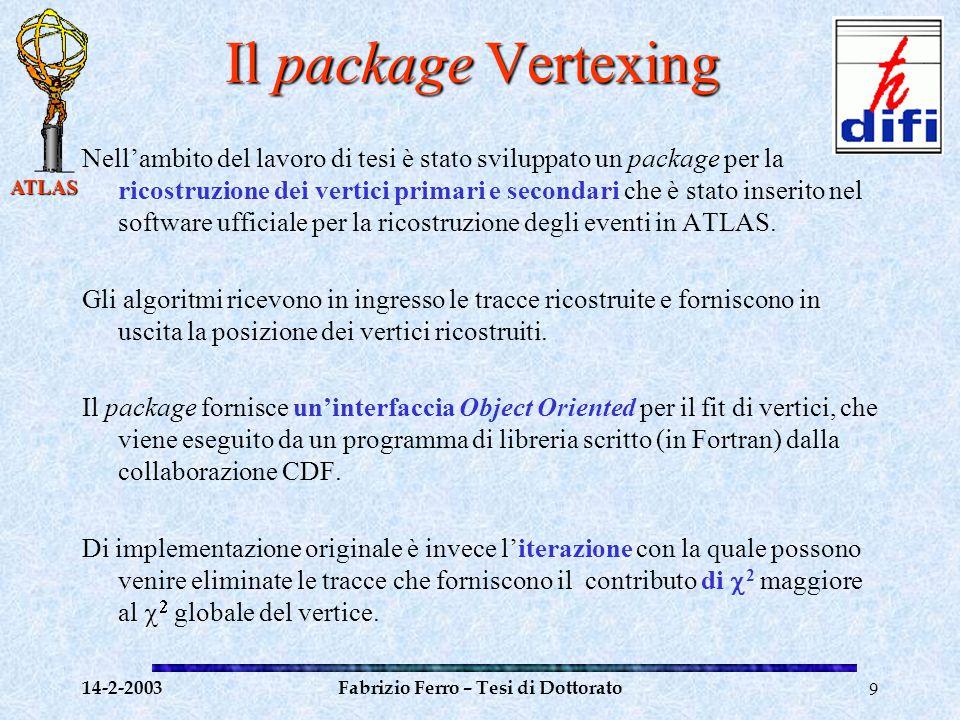 ATLAS 14-2-2003Fabrizio Ferro – Tesi di Dottorato10 Il package Vertexing