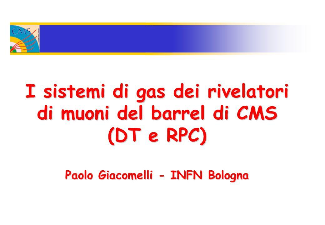 I sistemi di gas dei rivelatori di muoni del barrel di CMS (DT e RPC) Paolo Giacomelli - INFN Bologna