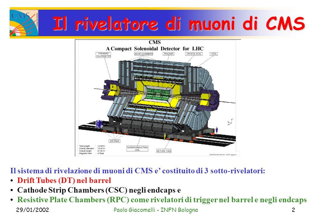 29/01/2002Paolo Giacomelli - INFN Bologna2 Il rivelatore di muoni di CMS Il sistema di rivelazione di muoni di CMS e' costituito di 3 sotto-rivelatori: Drift Tubes (DT) nel barrel Cathode Strip Chambers (CSC) negli endcaps e Resistive Plate Chambers (RPC) come rivelatori di trigger nel barrel e negli endcaps