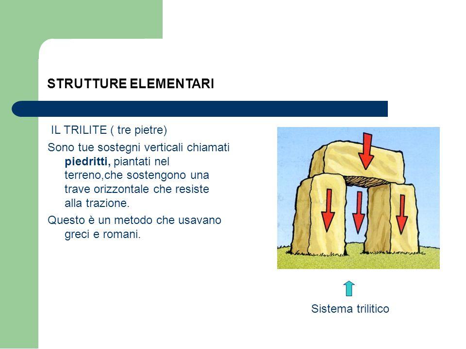 STRUTTURE ELEMENTARI IL TRILITE ( tre pietre) Sono tue sostegni verticali chiamati piedritti, piantati nel terreno,che sostengono una trave orizzontale che resiste alla trazione.