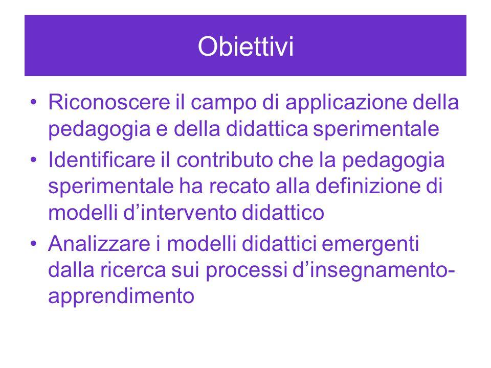 Obiettivi Riconoscere il campo di applicazione della pedagogia e della didattica sperimentale Identificare il contributo che la pedagogia sperimentale