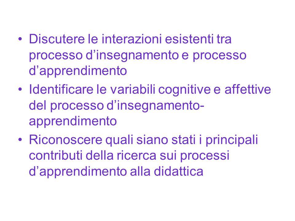 Discutere le interazioni esistenti tra processo d'insegnamento e processo d'apprendimento Identificare le variabili cognitive e affettive del processo