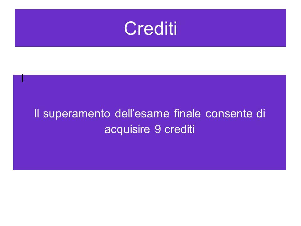 Crediti Il superamento dell'esame finale consente di acquisire 9 crediti I