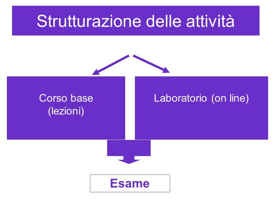 Strutturazione delle attività Corso base (lezioni) Laboratorio (on line). Esame