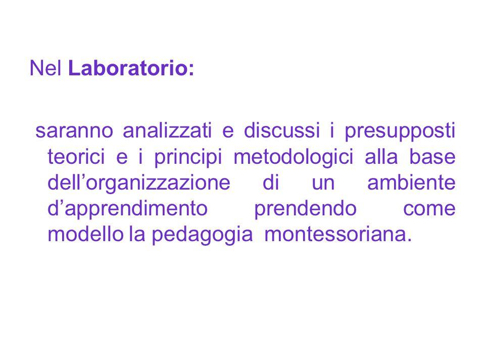 Nel Laboratorio: saranno analizzati e discussi i presupposti teorici e i principi metodologici alla base dell'organizzazione di un ambiente d'apprendi