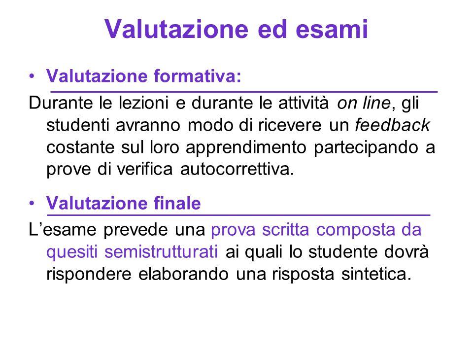 Valutazione ed esami Valutazione formativa: Durante le lezioni e durante le attività on line, gli studenti avranno modo di ricevere un feedback costan