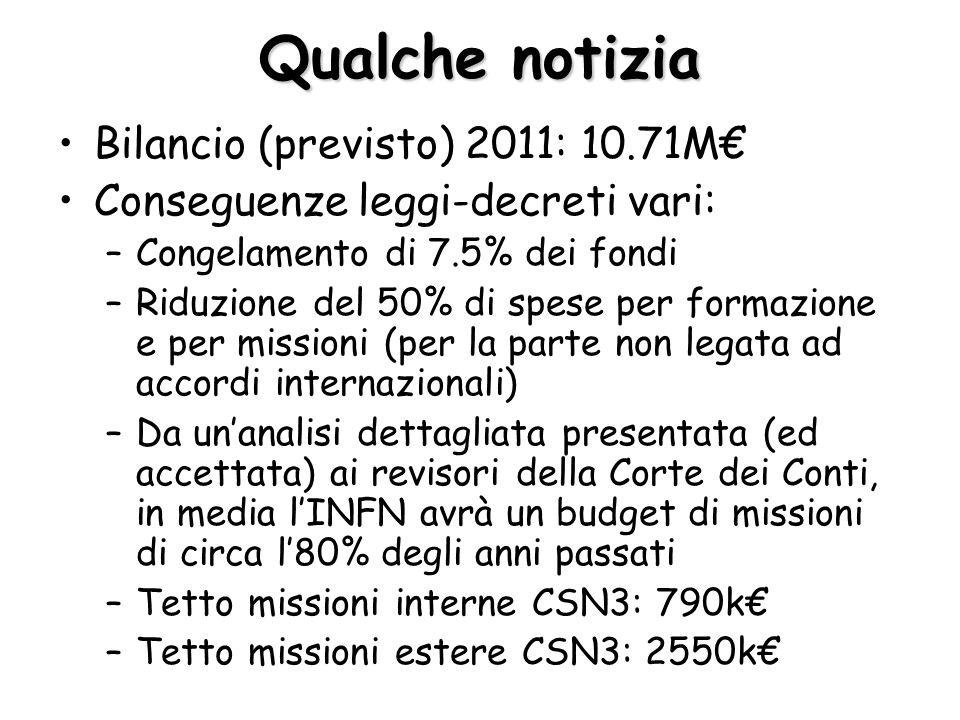 Qualche notizia Bilancio (previsto) 2011: 10.71M€ Conseguenze leggi-decreti vari: –Congelamento di 7.5% dei fondi –Riduzione del 50% di spese per formazione e per missioni (per la parte non legata ad accordi internazionali) –Da un'analisi dettagliata presentata (ed accettata) ai revisori della Corte dei Conti, in media l'INFN avrà un budget di missioni di circa l'80% degli anni passati –Tetto missioni interne CSN3: 790k€ –Tetto missioni estere CSN3: 2550k€