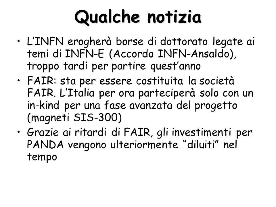 Qualche notizia L'INFN erogherà borse di dottorato legate ai temi di INFN-E (Accordo INFN-Ansaldo), troppo tardi per partire quest'anno FAIR: sta per essere costituita la società FAIR.