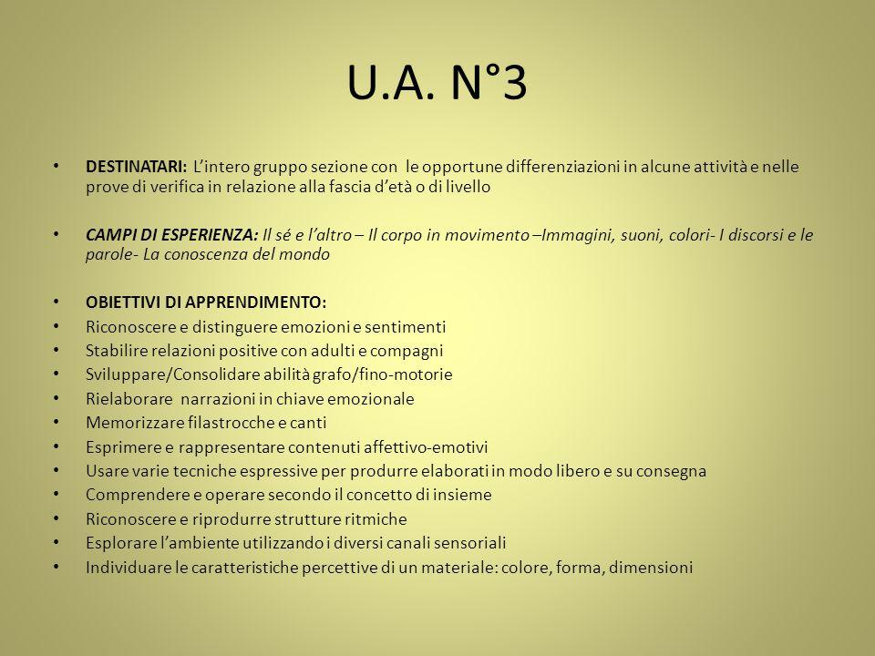 U.A. N°3 DESTINATARI: L'intero gruppo sezione con le opportune differenziazioni in alcune attività e nelle prove di verifica in relazione alla fascia