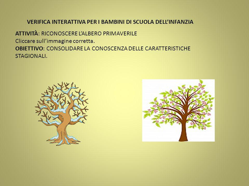 ATTIVITÀ: RICONOSCERE L'ALBERO PRIMAVERILE Cliccare sull'immagine corretta. OBIETTIVO: CONSOLIDARE LA CONOSCENZA DELLE CARATTERISTICHE STAGIONALI. VER