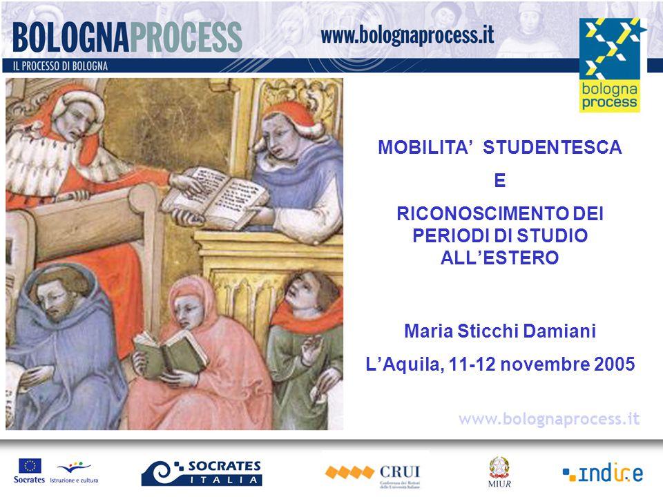 MOBILITA' STUDENTESCA E RICONOSCIMENTO DEI PERIODI DI STUDIO ALL'ESTERO Maria Sticchi Damiani L'Aquila, 11-12 novembre 2005 www.bolognaprocess.i t