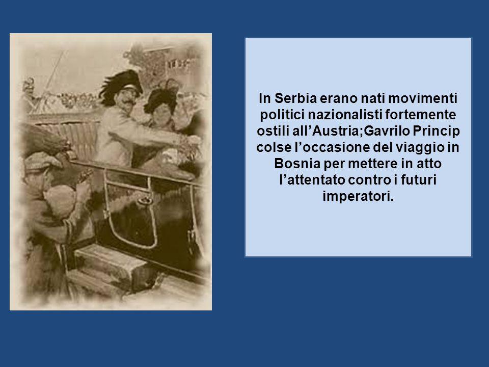 In Serbia erano nati movimenti politici nazionalisti fortemente ostili all'Austria;Gavrilo Princip colse l'occasione del viaggio in Bosnia per mettere