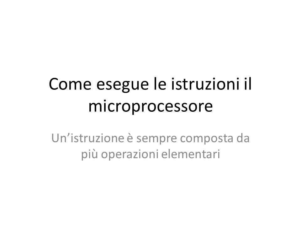 Come esegue le istruzioni il microprocessore Un'istruzione è sempre composta da più operazioni elementari
