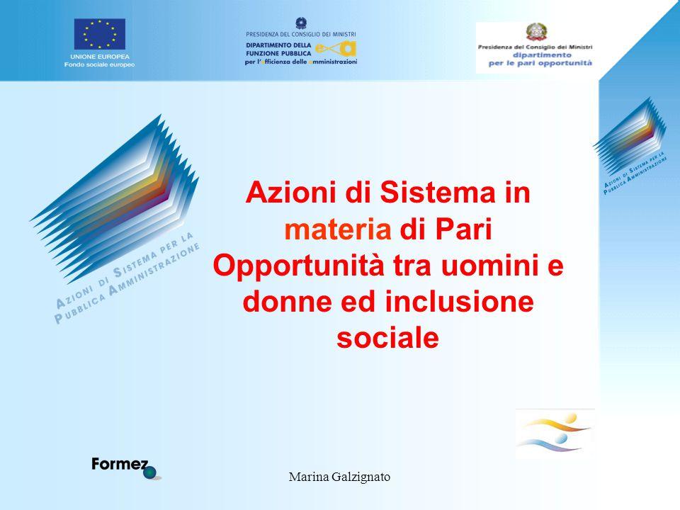 Marina Galzignato Azioni di Sistema in materia di Pari Opportunità tra uomini e donne ed inclusione sociale