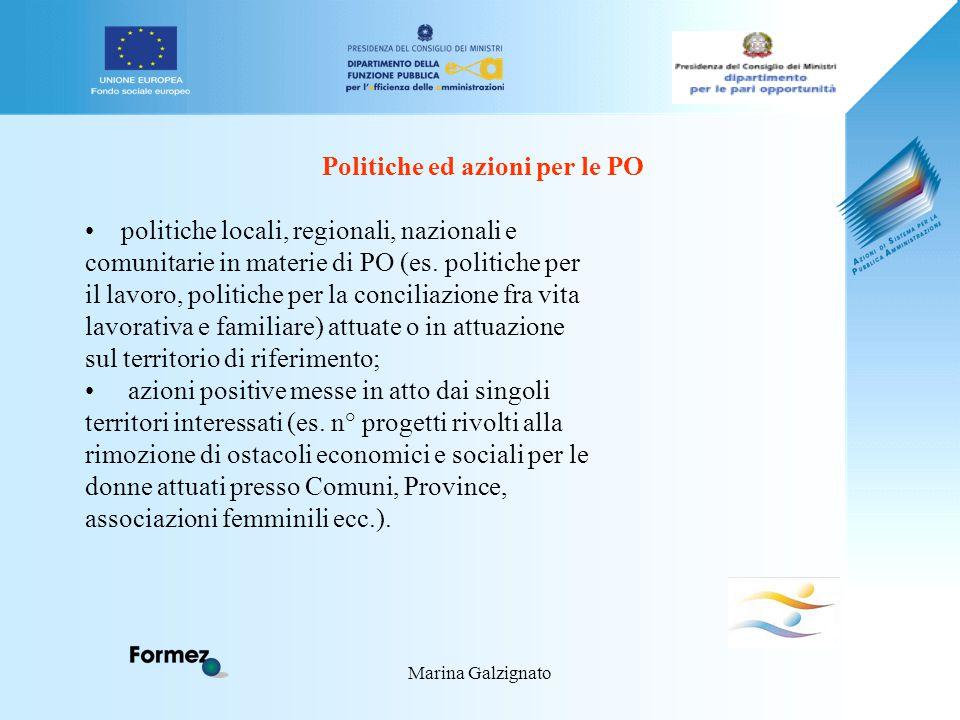 Marina Galzignato Politiche ed azioni per le PO politiche locali, regionali, nazionali e comunitarie in materie di PO (es.