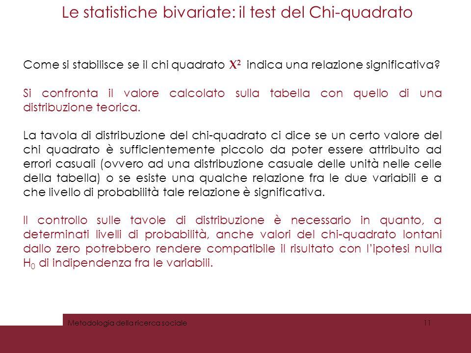 Le statistiche bivariate: il test del Chi-quadrato Logica e test del Chi-quadrato Come si stabilisce se il chi quadrato Х 2 indica una relazione signi