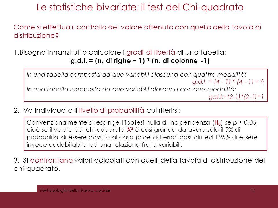 Le statistiche bivariate: il test del Chi-quadrato Come si effettua il controllo del valore ottenuto con quello della tavola di distribuzione? 1.Bisog
