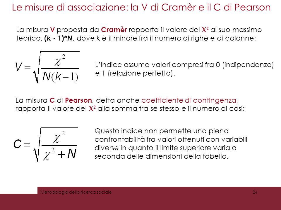 Le misure di associazione: la V di Cramèr e il C di Pearson 24Metodologia della ricerca sociale La misura V proposta da Cramèr rapporta il valore del