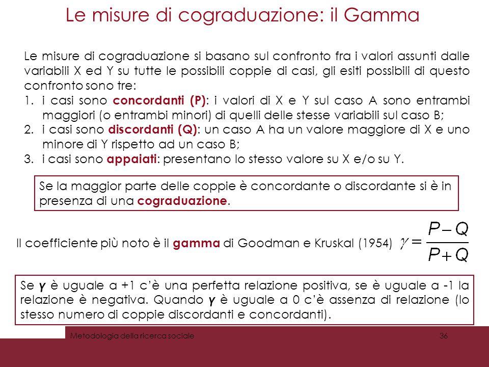 Le misure di cograduazione: il Gamma 36Metodologia della ricerca sociale Le misure di cograduazione si basano sul confronto fra i valori assunti dalle